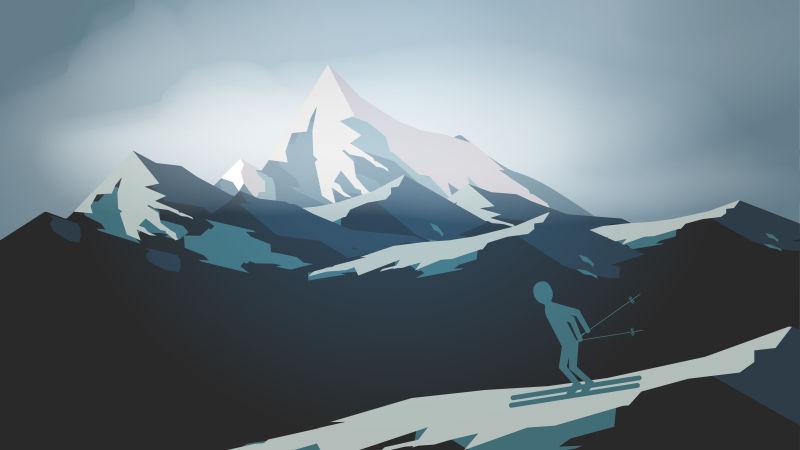 抽象矢量美丽的雪山插图设计