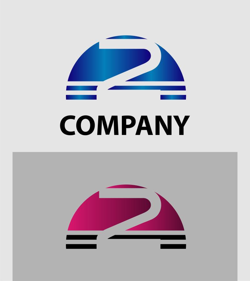 创意矢量半圆形数字2标志设计