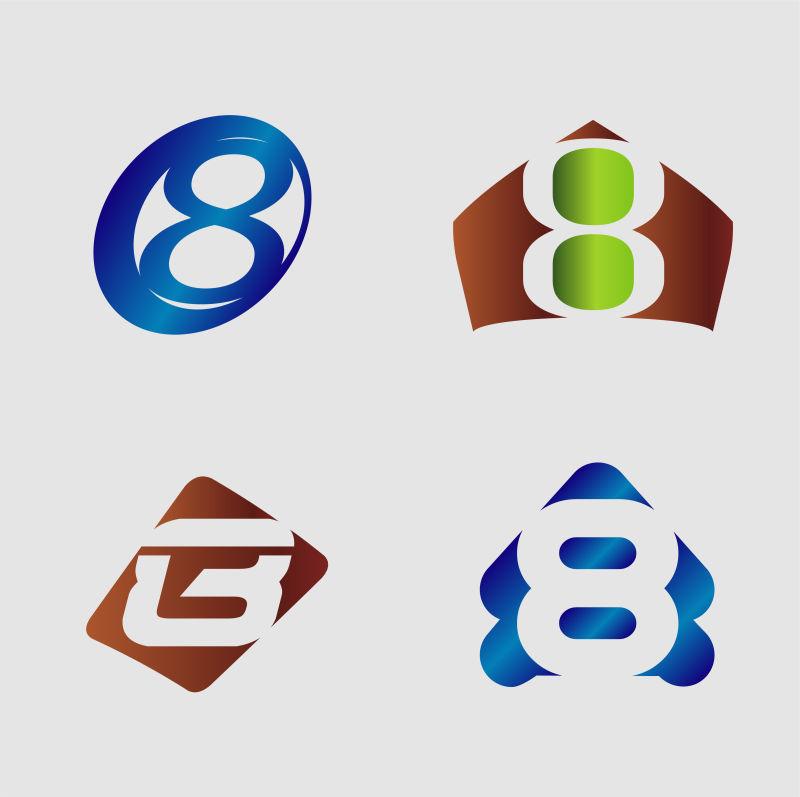 创意矢量现代数字8装饰标志设计