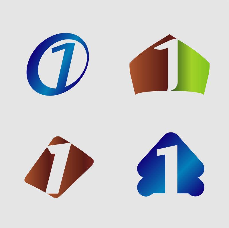 创意矢量现代数字1标志设计