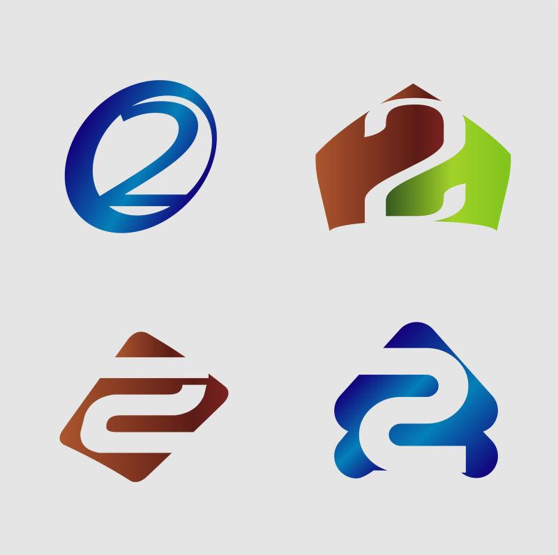 矢量现代数字2标志设计