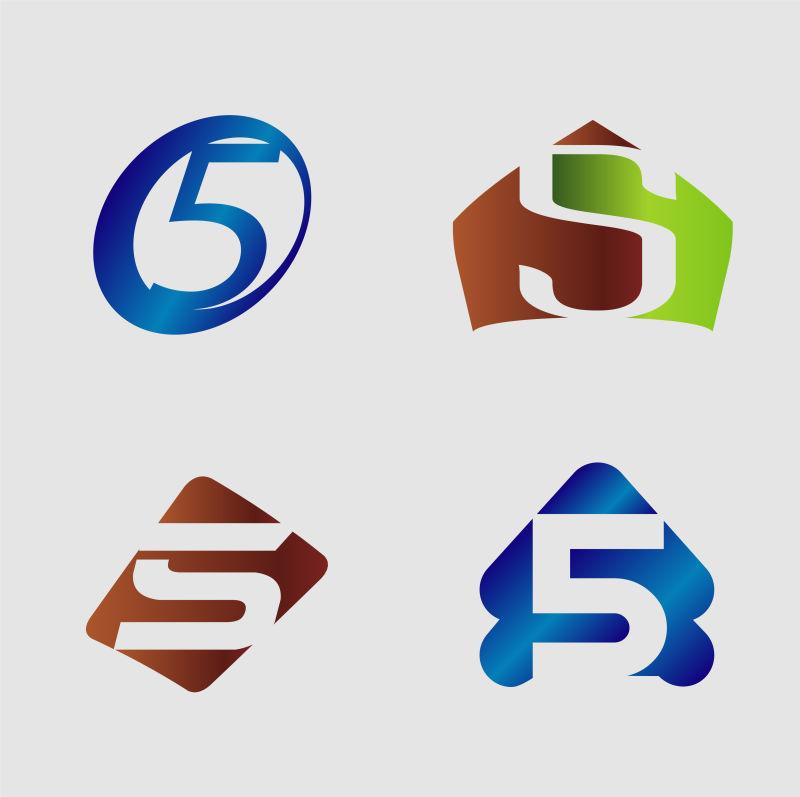 矢量创意现代数字5标志设计