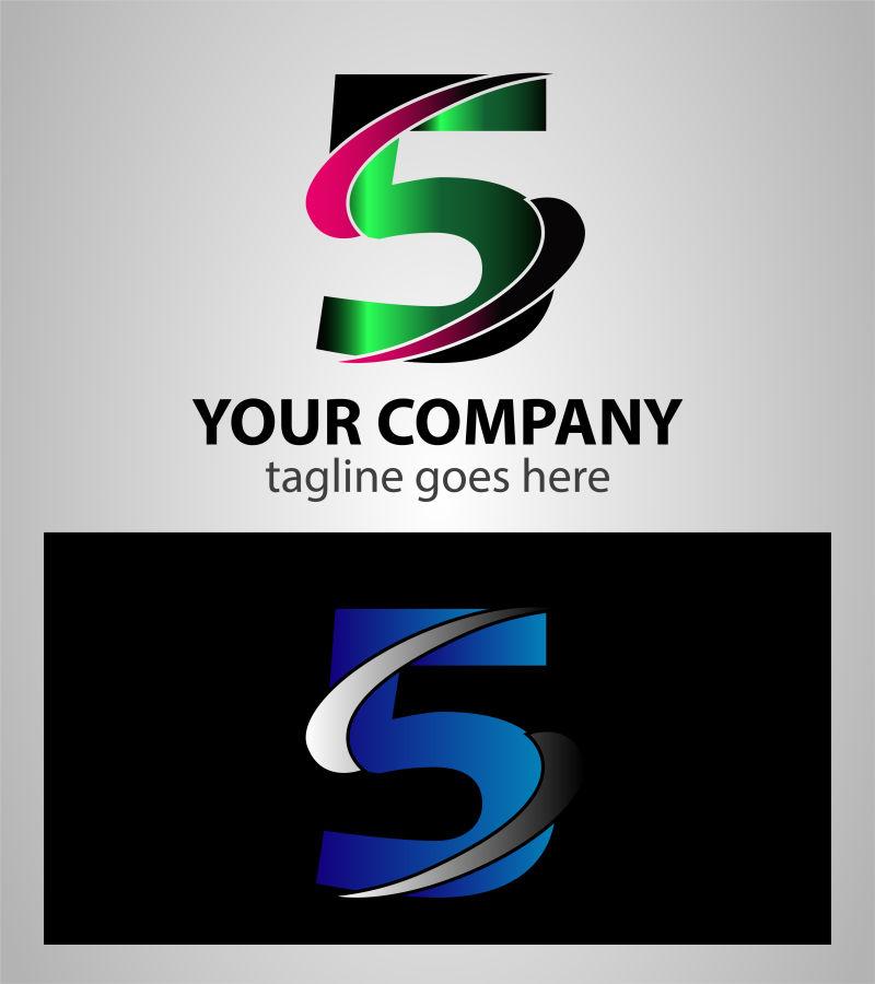创意矢量现代装饰数字5标志设计