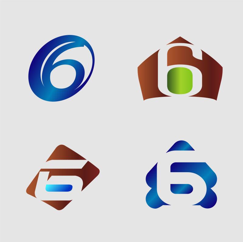 创意矢量现代数字6标志设计
