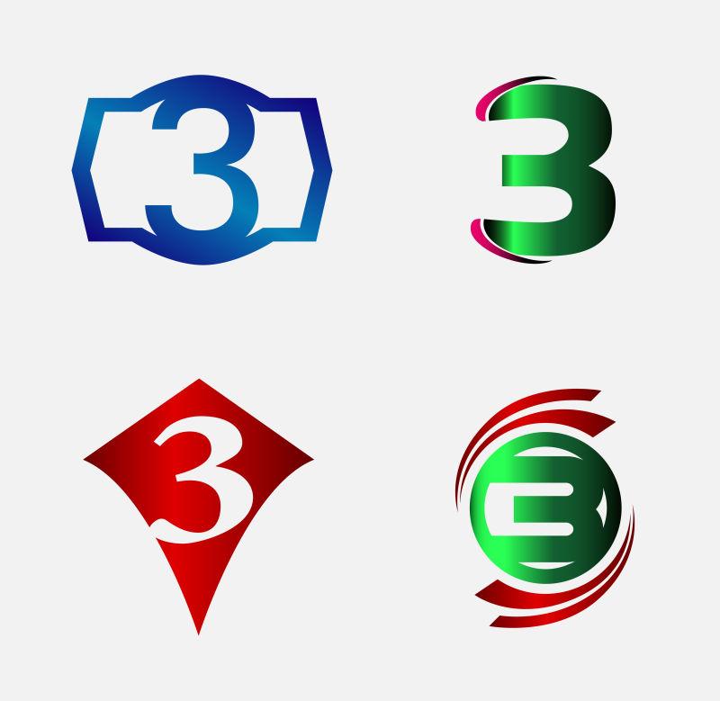 创意矢量现代数字3标志设计