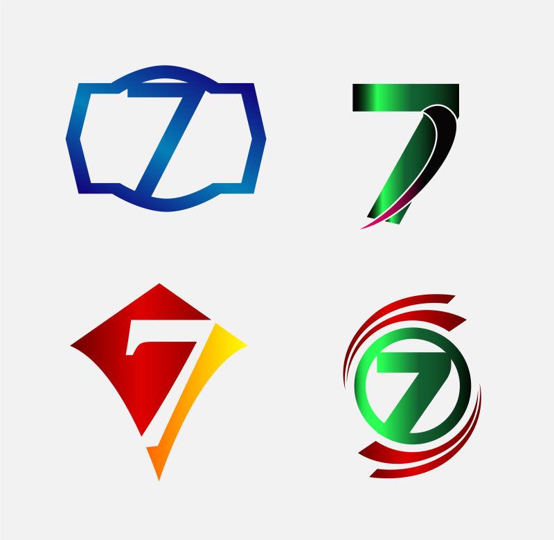 创意矢量现代数字7装饰标志设计