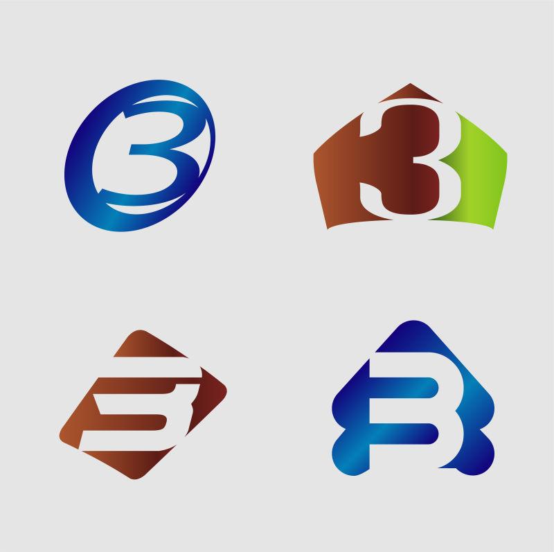 创意矢量数字3标志设计