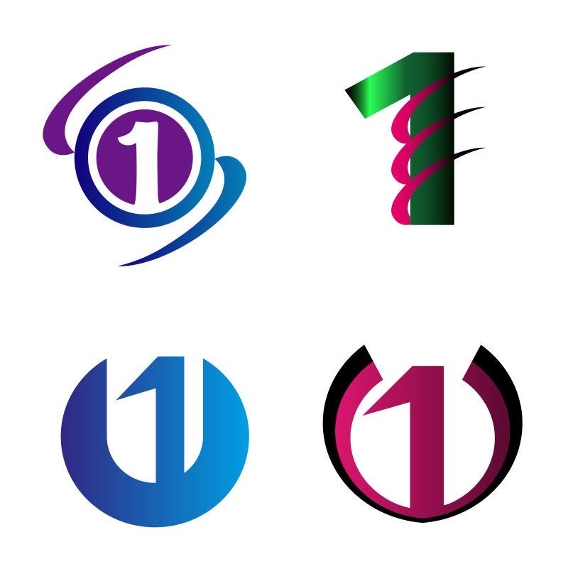创意矢量数字1标志设计