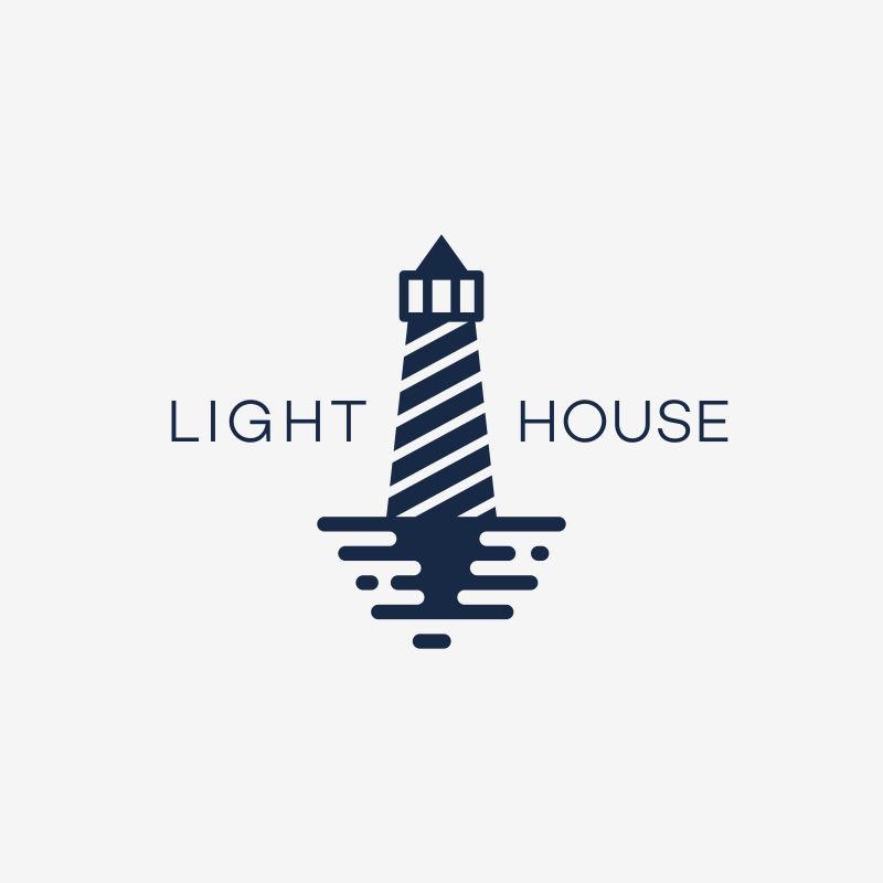 抽象矢量现代灯塔标志设计