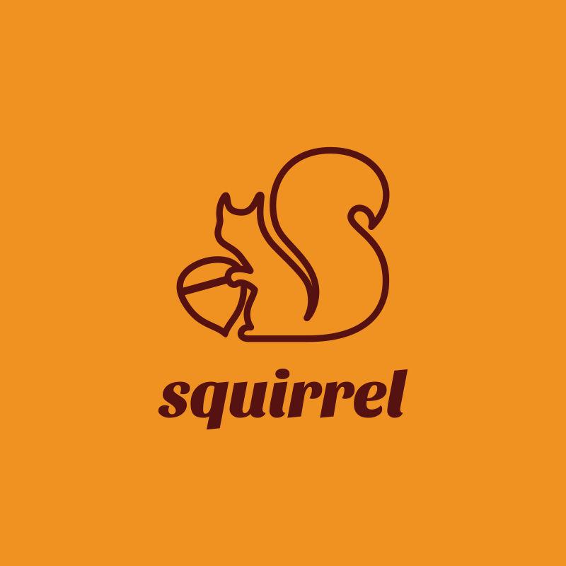 创意矢量松鼠元素的线性标志设计