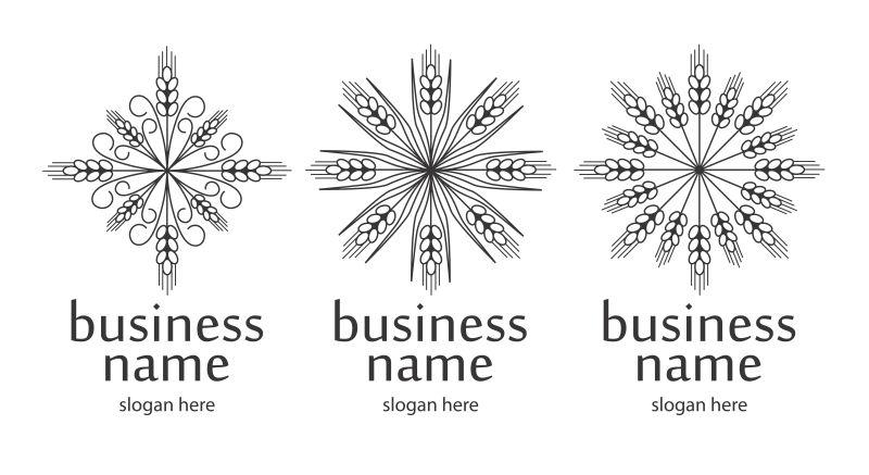 抽象矢量花纹装饰的标志设计