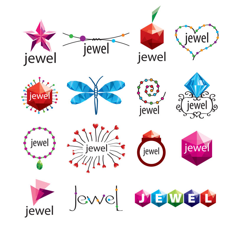 抽象矢量现代珠宝标志设计