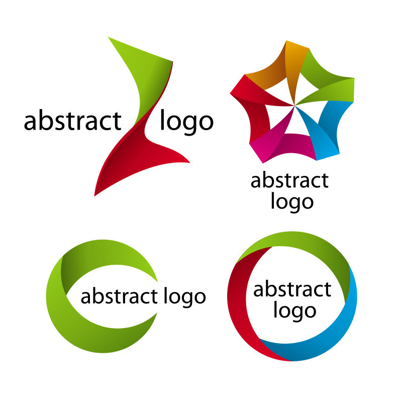 抽象矢量现代彩色纸状标志设计