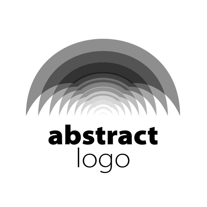抽象矢量现代黑色半圆形时尚标志设计
