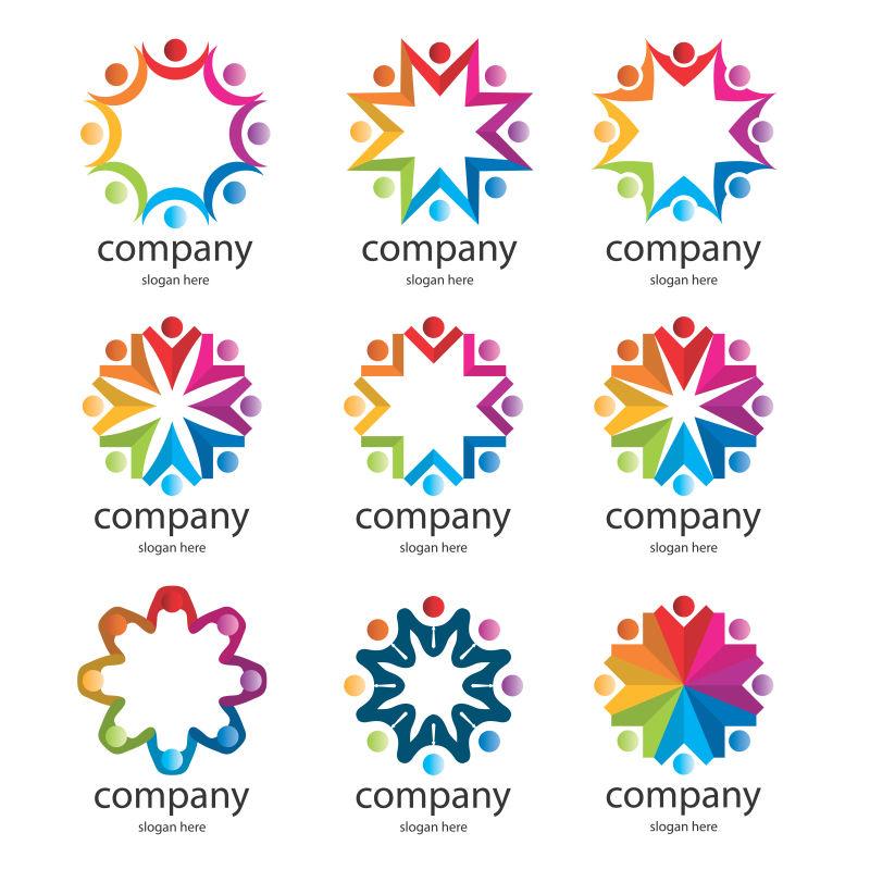 抽象水量现代彩色团队标志设计