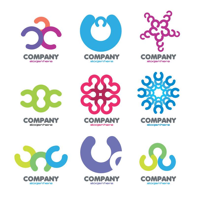 创意矢量现代双色经典圈形标志设计