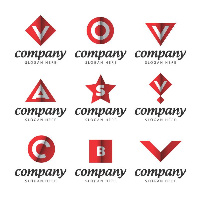 抽象矢量红色几何元素的字母标志设计