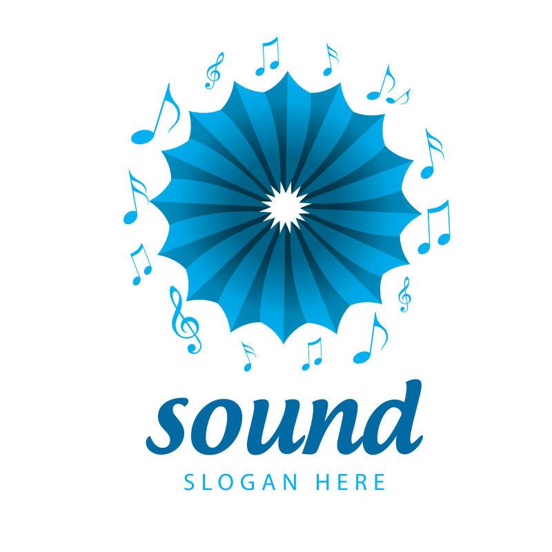 抽象矢量现代声音主题的标志设计
