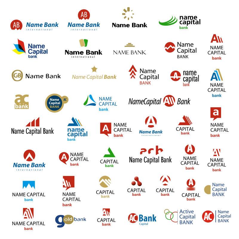 创意矢量现代银行主题创意标志设计