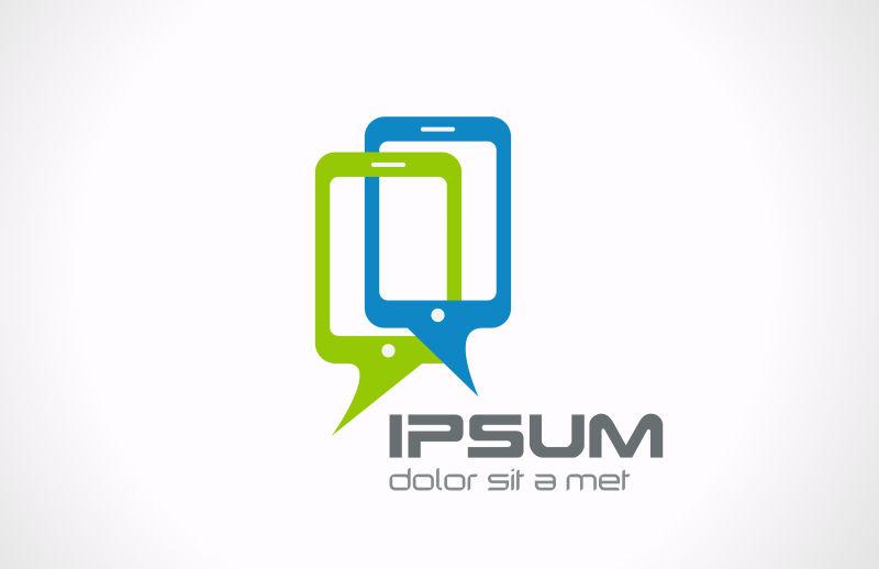 抽象矢量现代红蓝色手机标志设计