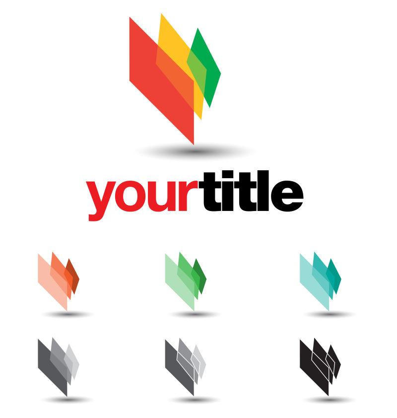 抽象彩色几何矢量商业标志设计