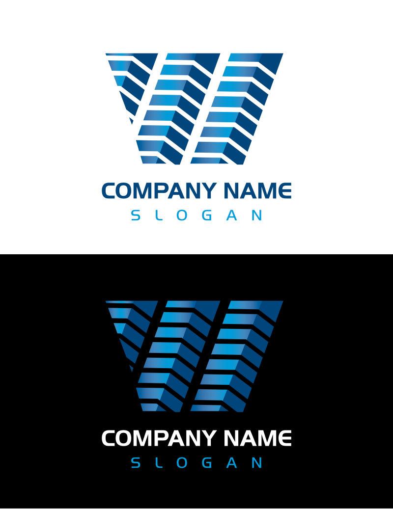 矢量抽象现代蓝色几何商业标志设计