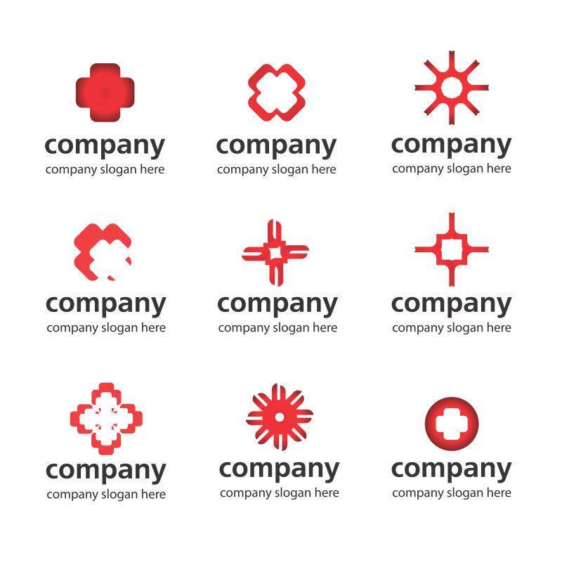 抽象矢量现代红色商业标志设计