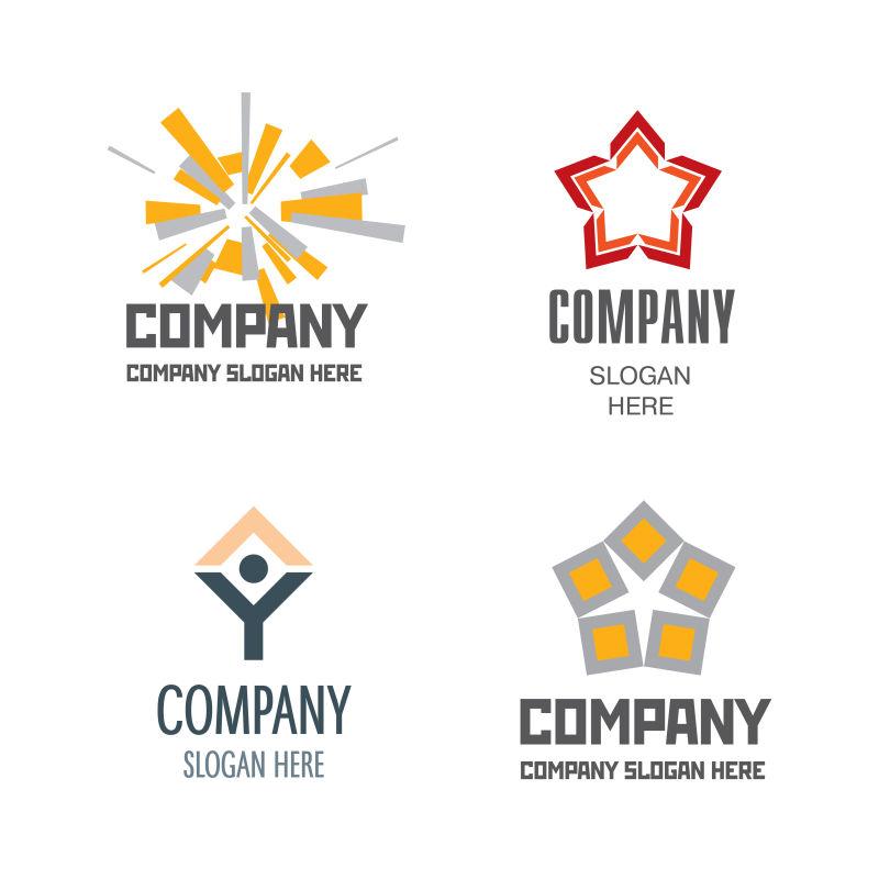 矢量现代几何风格的抽象商业标志设计