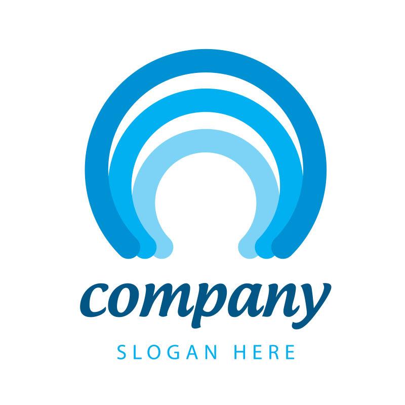 矢量现代蓝色商业抽象标志设计