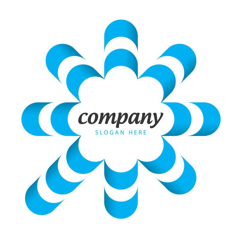 抽象矢量蓝色花型标志设计