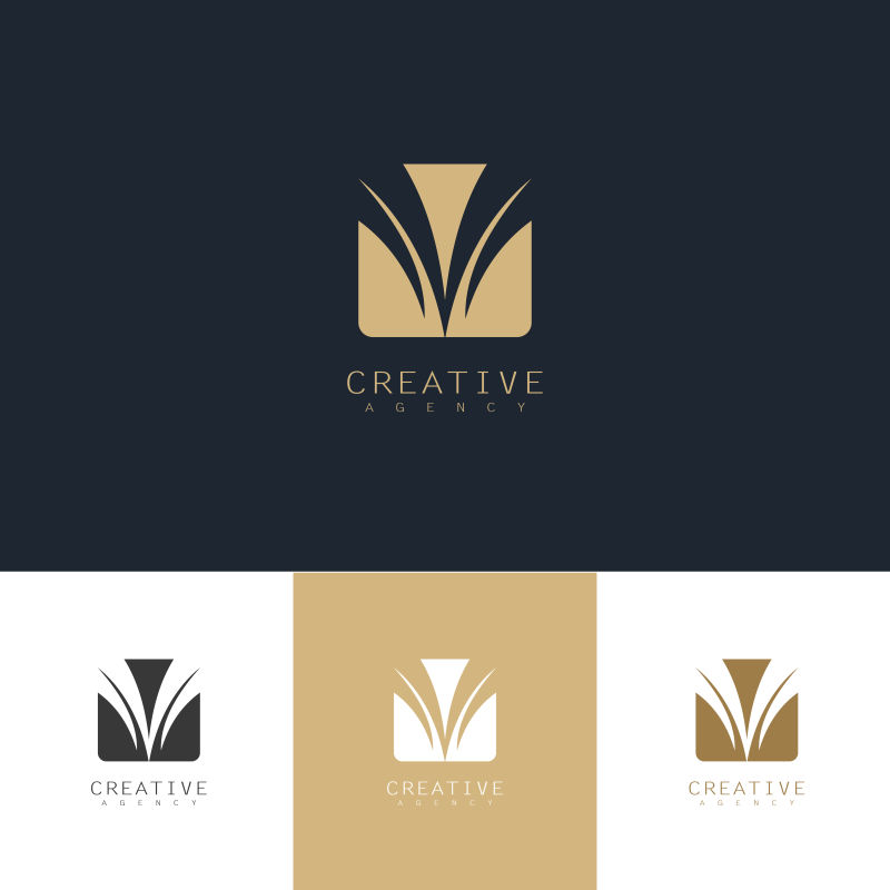抽象矢量金色抽象字母v标志设计