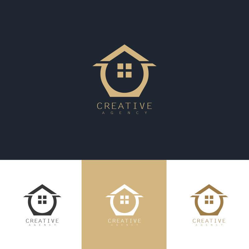 创意矢量抽象家具元素的金色标志设计