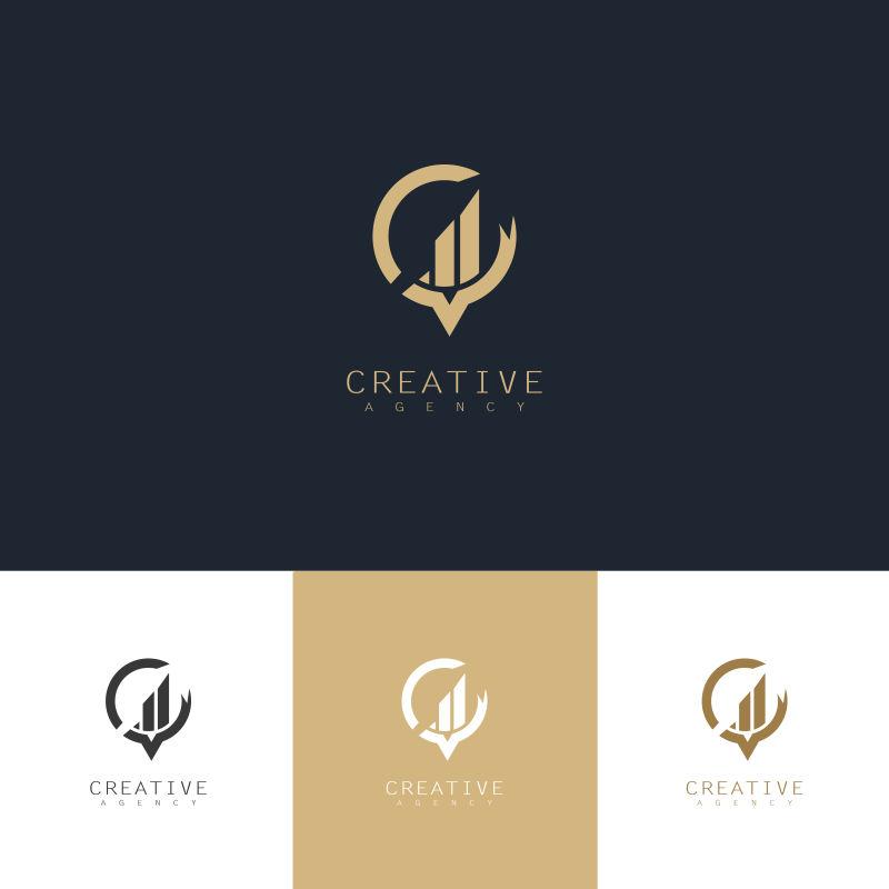 矢量抽象建筑元素金色标志设计