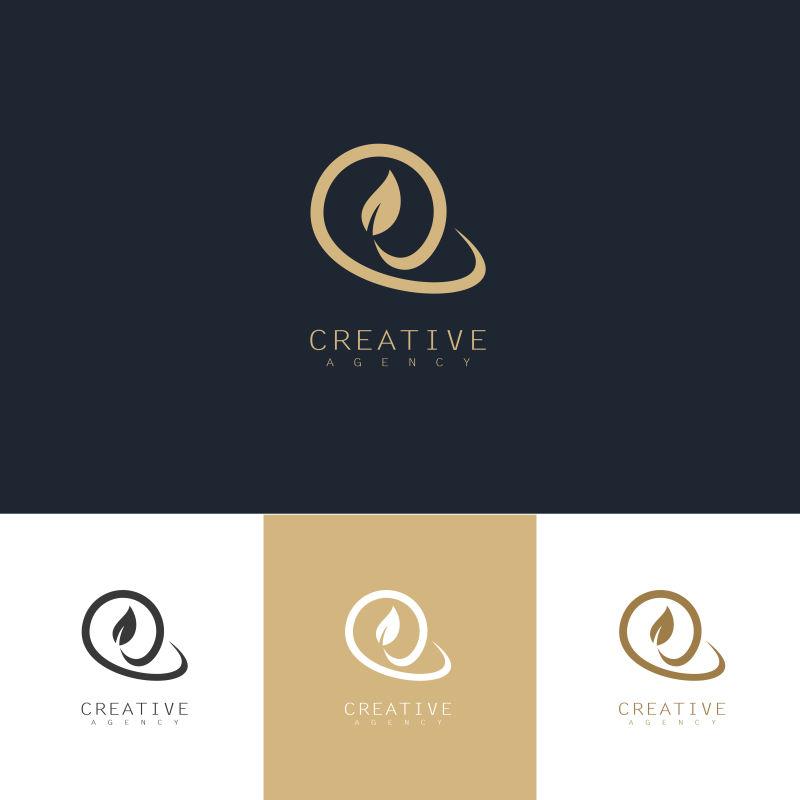 创意矢量现代金色圆形叶子标志设计
