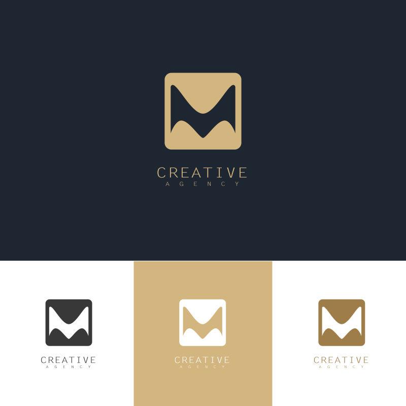 抽象矢量字母m方形标志设计