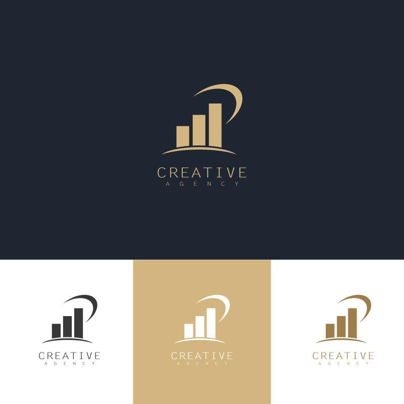 抽象矢量现代建筑元素金色标志设计