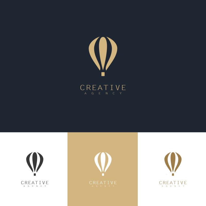 创意矢量降落伞元素金色标志设计