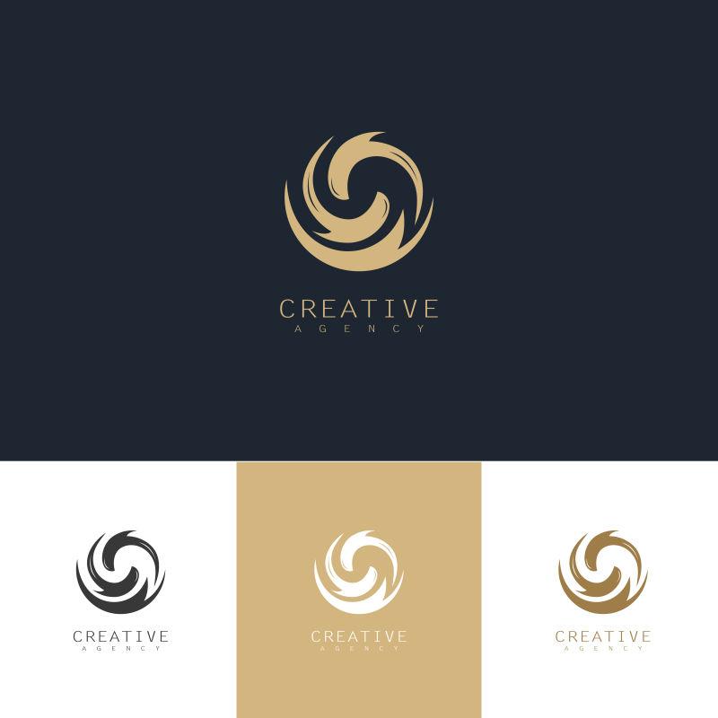 抽象矢量旋涡型金色标志设计