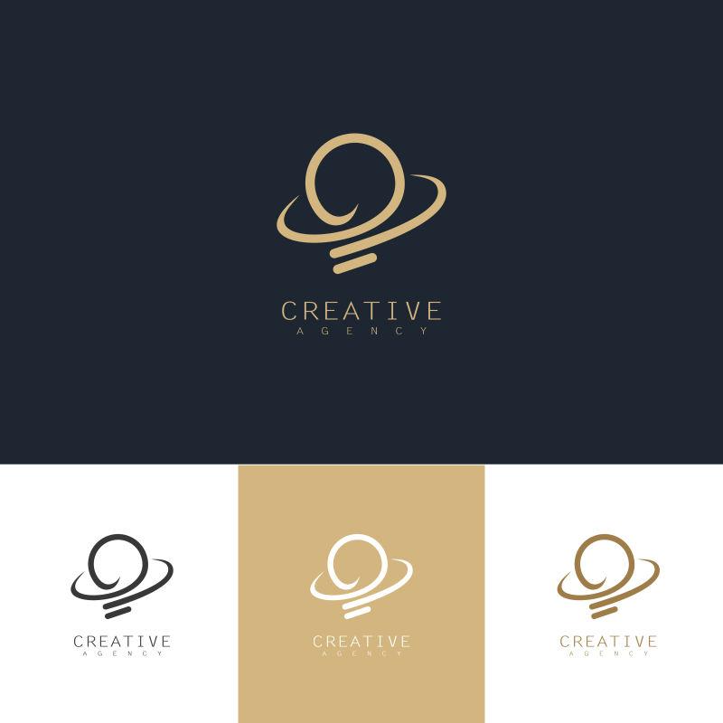 创意矢量金色灯泡元素标志设计
