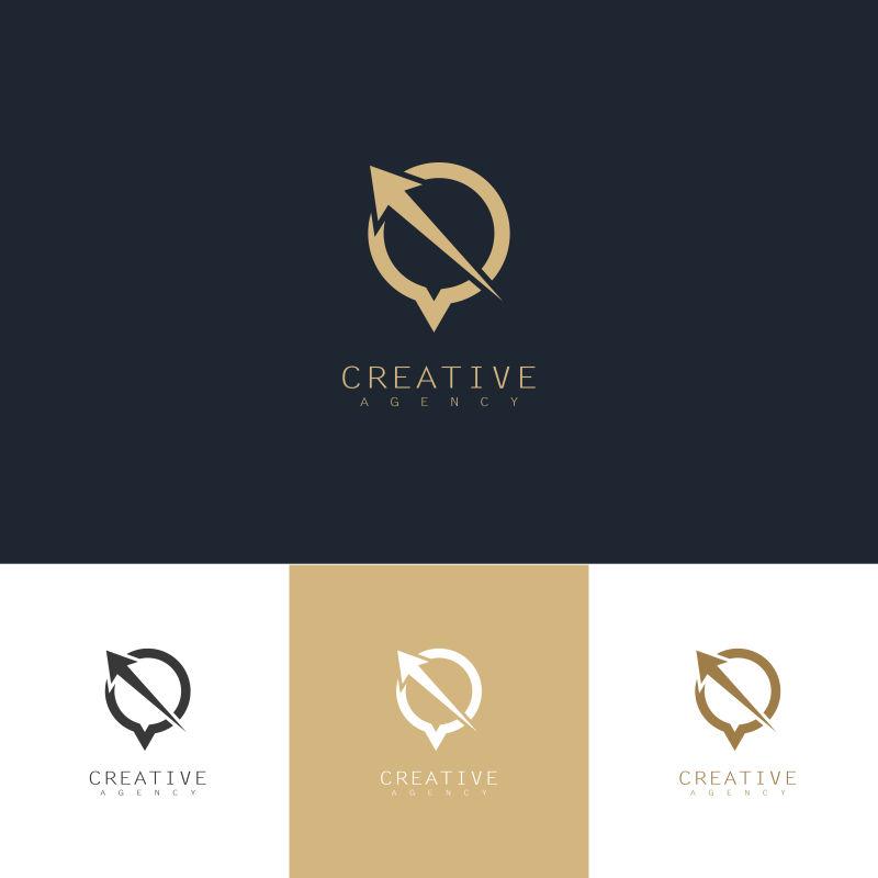 抽象矢量聊天主题的金色标志设计