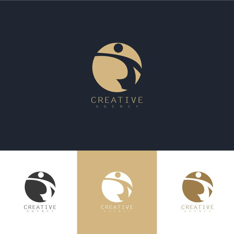 矢量抽象现代金色球形标志创意设计