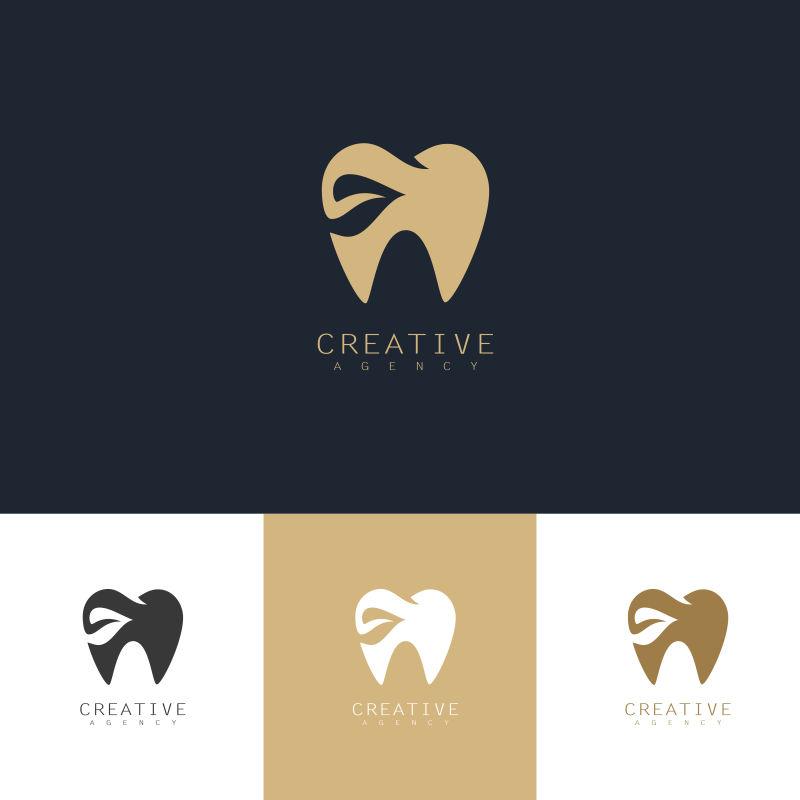 创意矢量金色牙齿元素标志设计