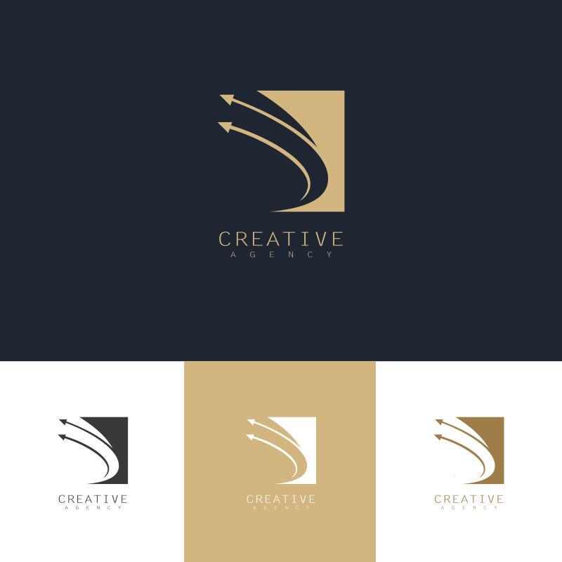 抽象矢量箭头元素金色标志设计