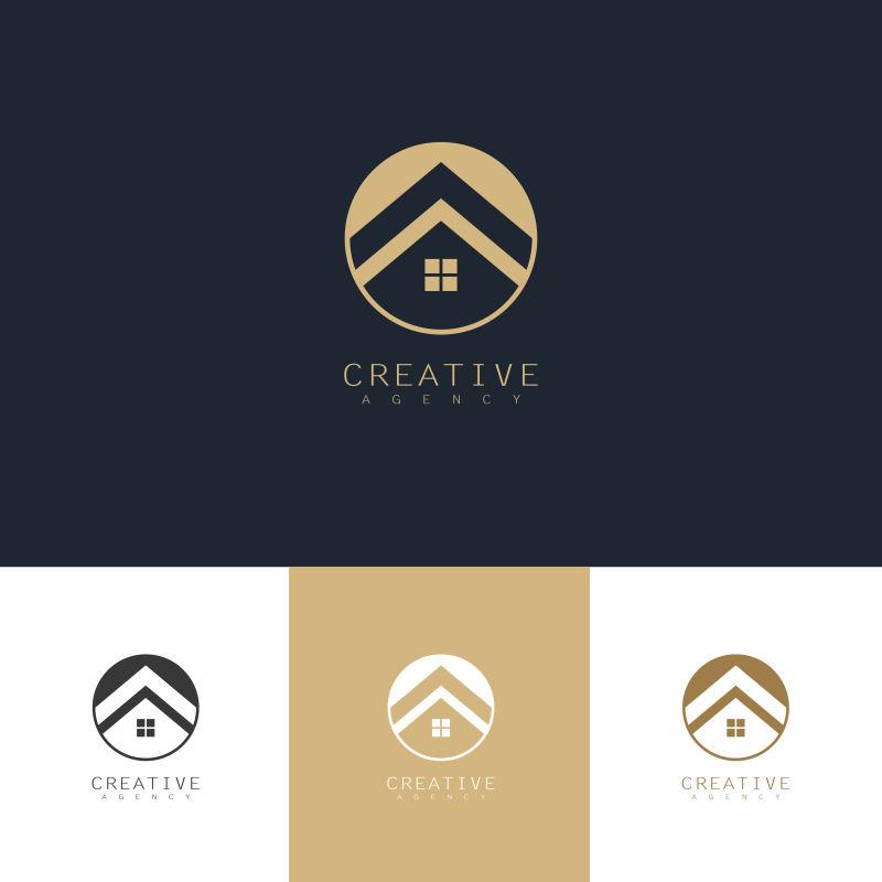 创意矢量现代家居元素金色标志设计