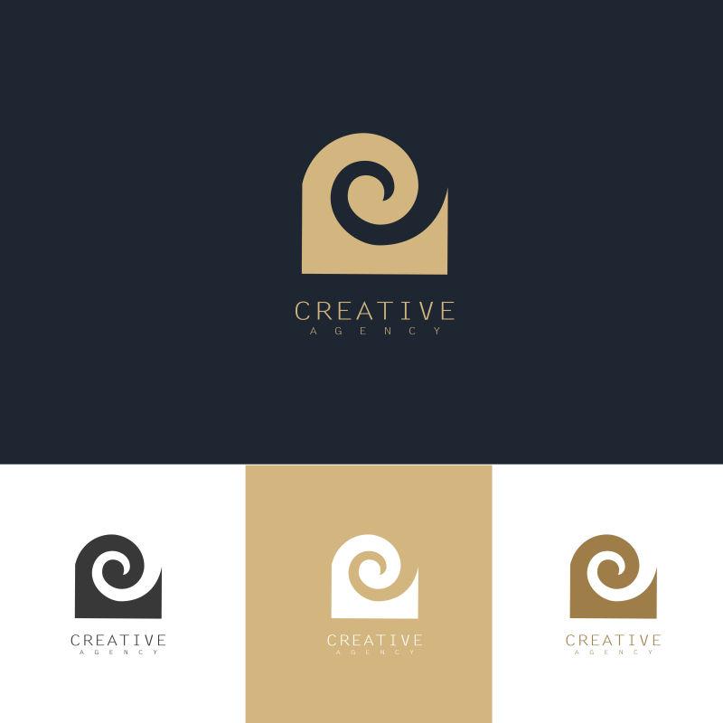 矢量抽象波浪元素金色标志设计