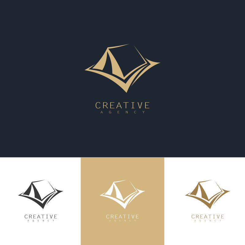 创意矢量露营主题金色标志设计