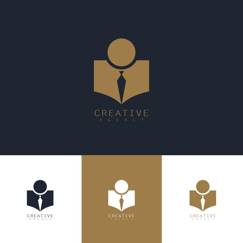 创意矢量现代商人主题的标志设计