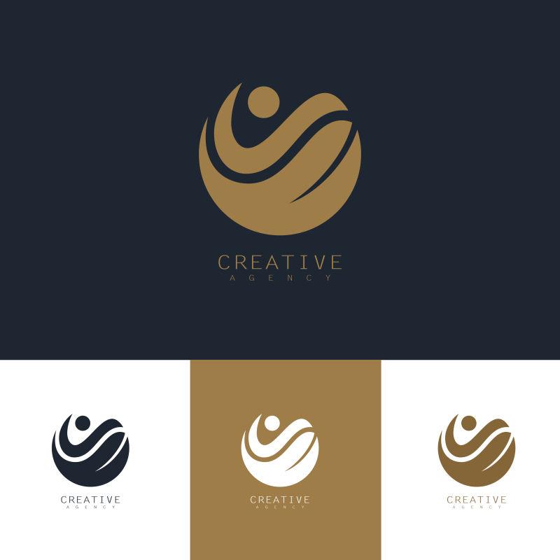 矢量创意现代圆形人与自然标志设计