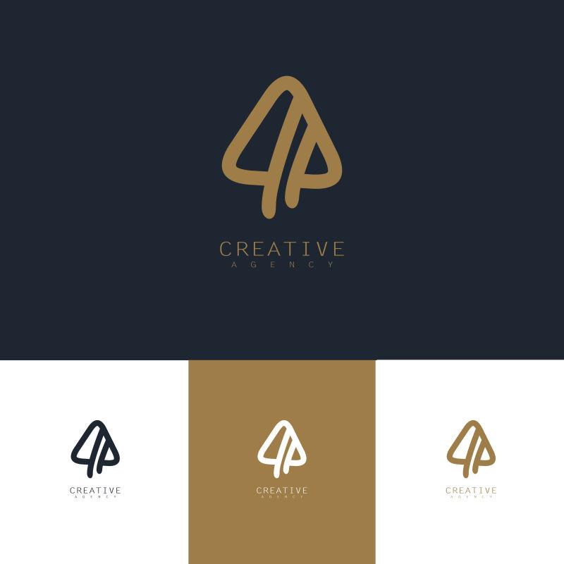 矢量抽象金色三角标志创意设计