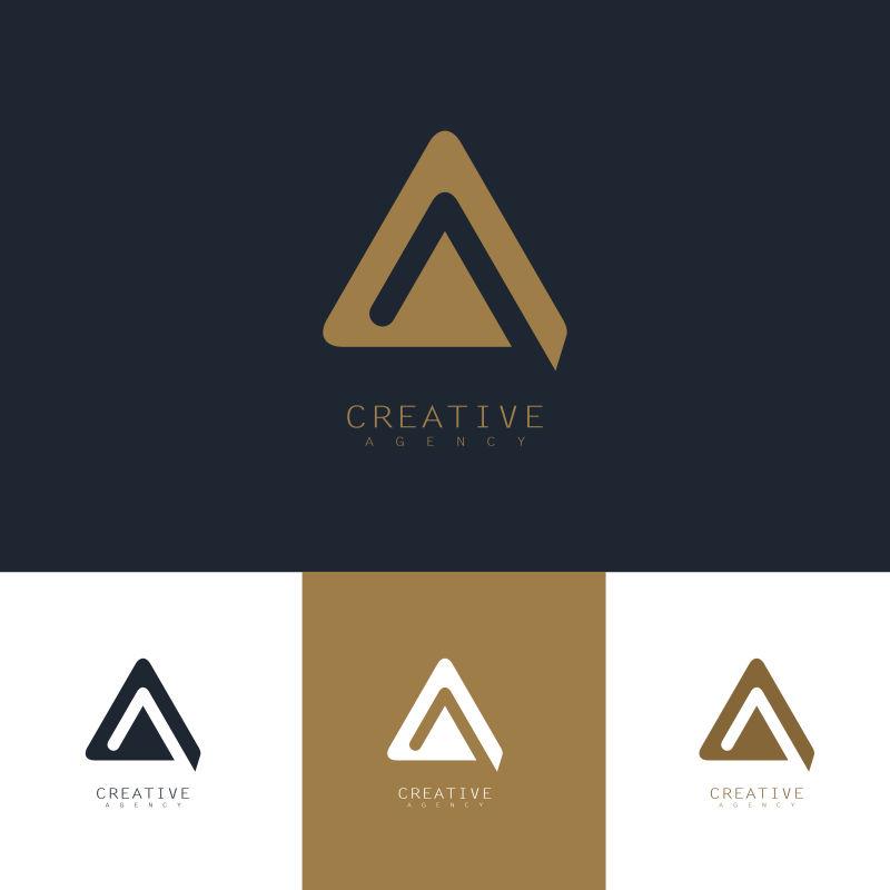 抽象矢量现代金三角标志设计